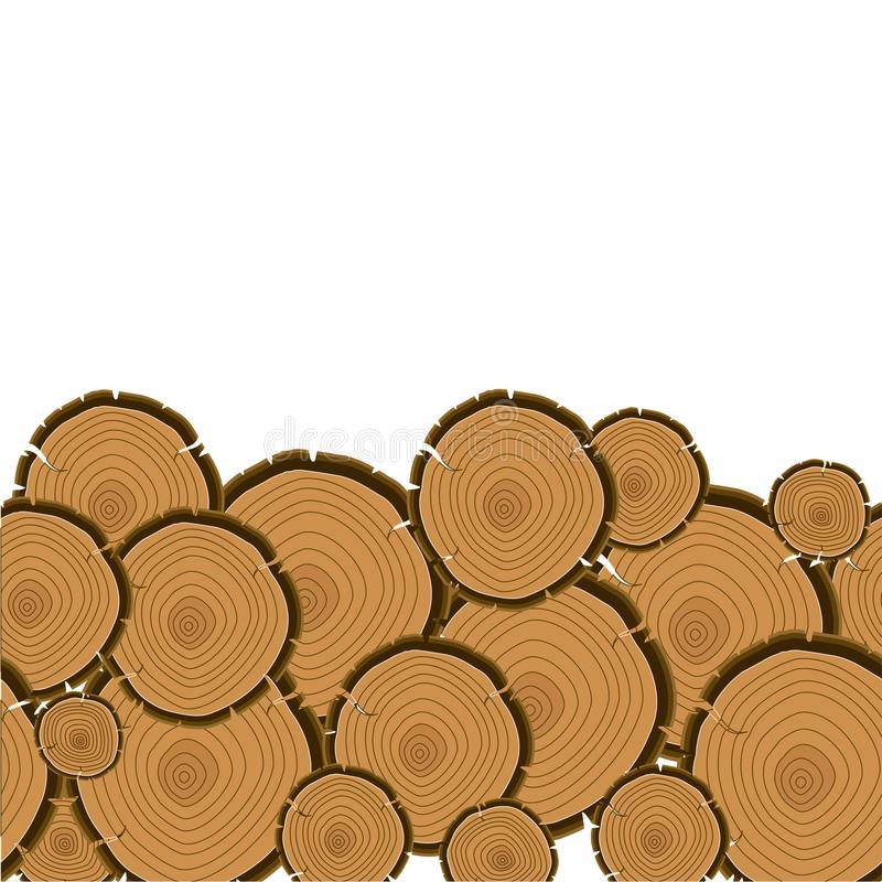 Tree rings cut background. Wood trunk section. Cartoon vector illustration in flat style stock illustration