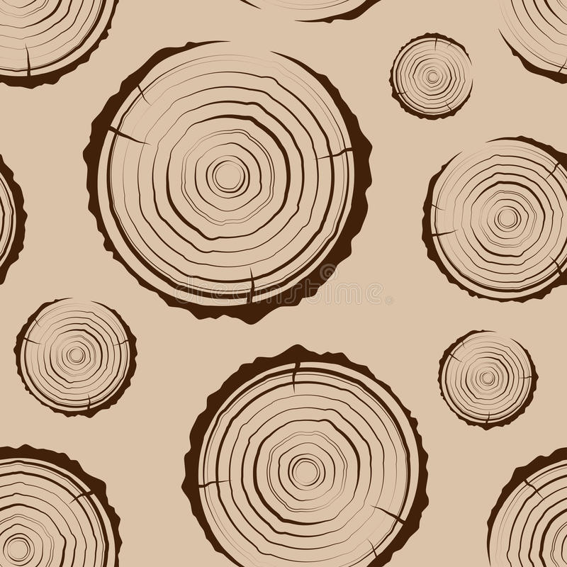 Tree Rings seamless. Saw cut the tree trunk background. cross section of the trunk with tree rings. Tree Rings seamless. A simple pattern. Saw cut the tree vector illustration