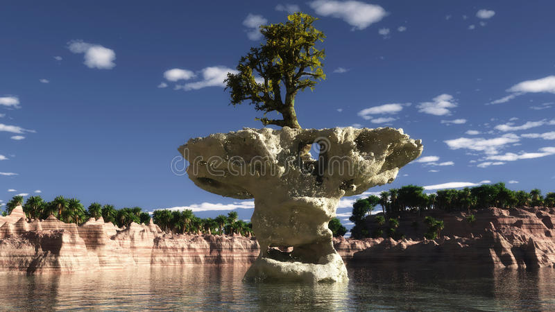 Tree on a rock. The tree image on a rock vector illustration