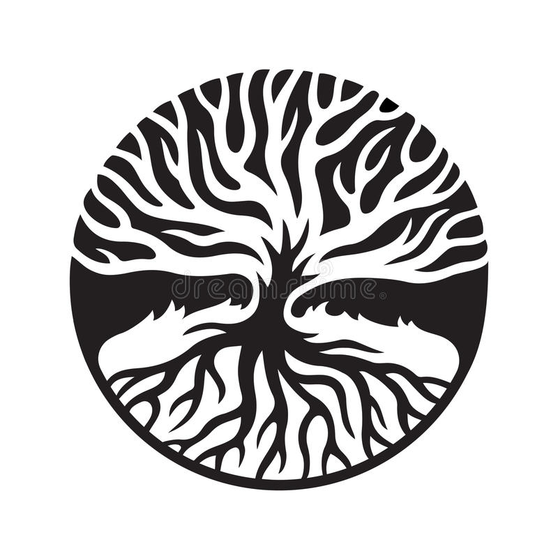Tree with roots in circle royalty free illustration