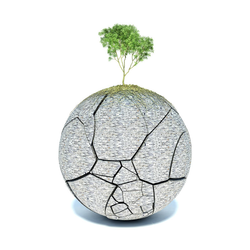 Tree roots covering the planet royalty free illustration