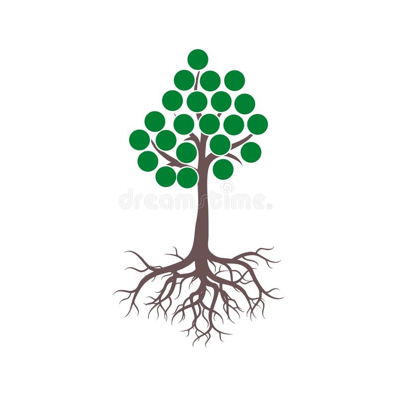 Tree And Roots icon, Tree And Roots logo vector illustration