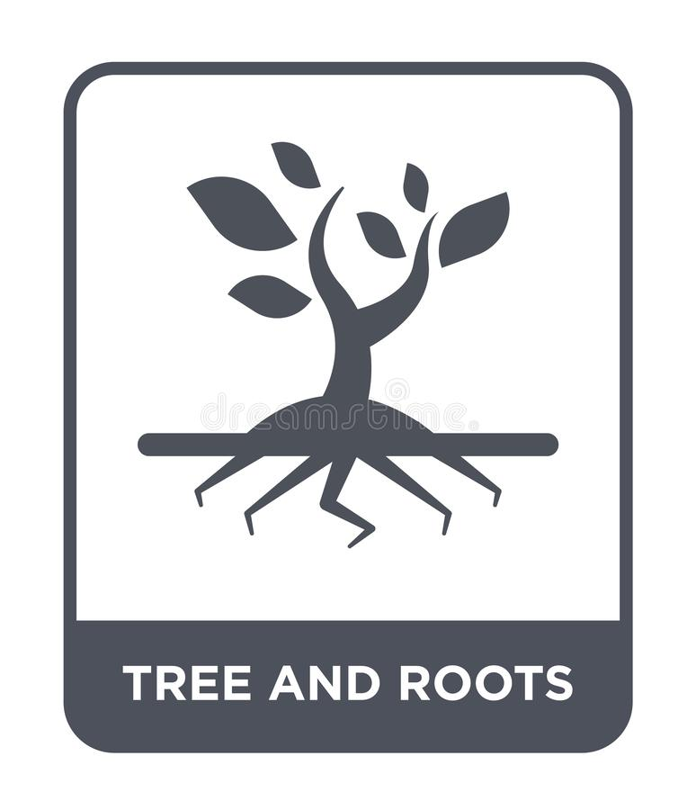 Tree and roots icon in trendy design style. tree and roots icon isolated on white background. tree and roots vector icon simple. And modern flat symbol for web stock illustration