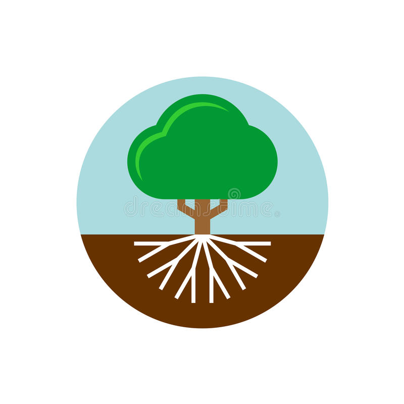 Tree with roots illustration. Trunk and crown of a plant. Tree with roots illustration. Trunk and crown of a plant with sky and earth round badge vector illustration