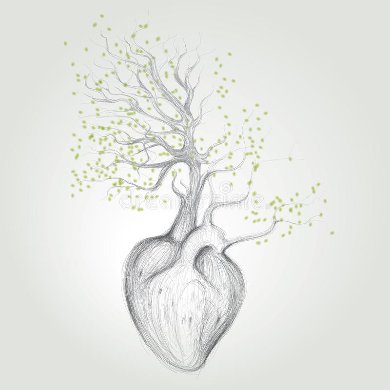 Download Tree with roots like heart stock vector. Illustration of background - 26605363