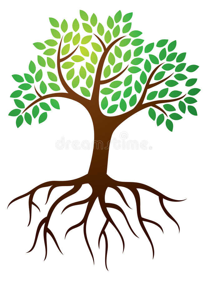 Tree Roots Logo. A tree with leaves and roots logo icon