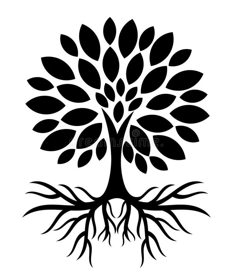 Tree with roots silhouette royalty free illustration