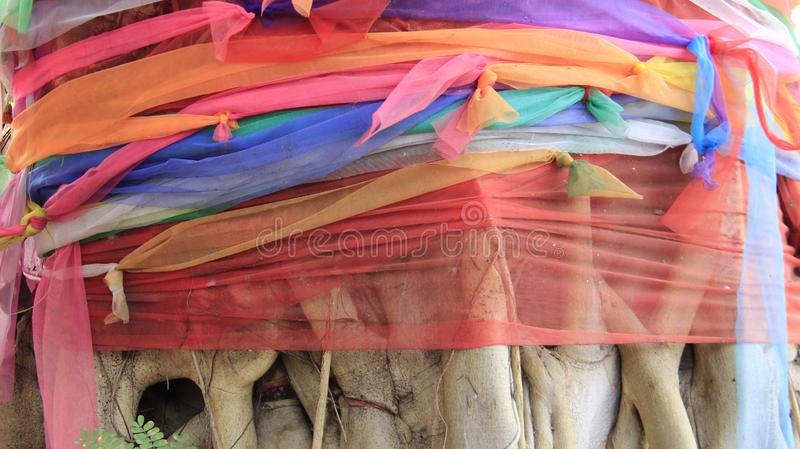 Local Way. Multicolored Satin On Bodhi Tree stock images