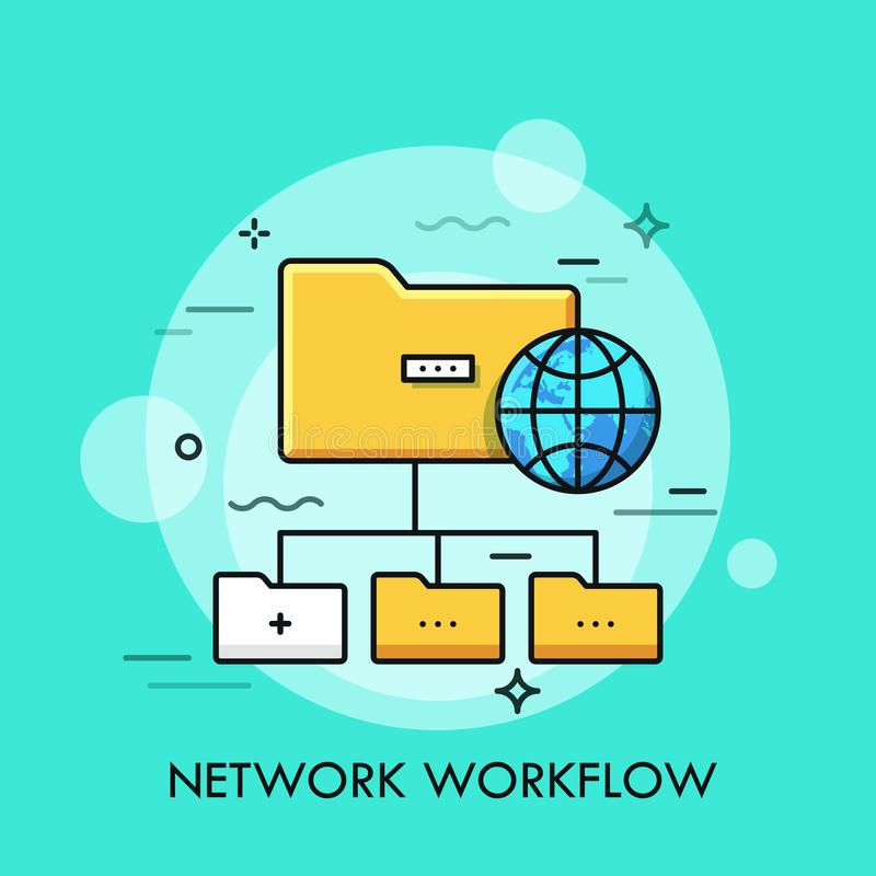 Tree scheme with yellow folder symbols and globe. Concept of directory structure, schematic organization of data storage vector illustration