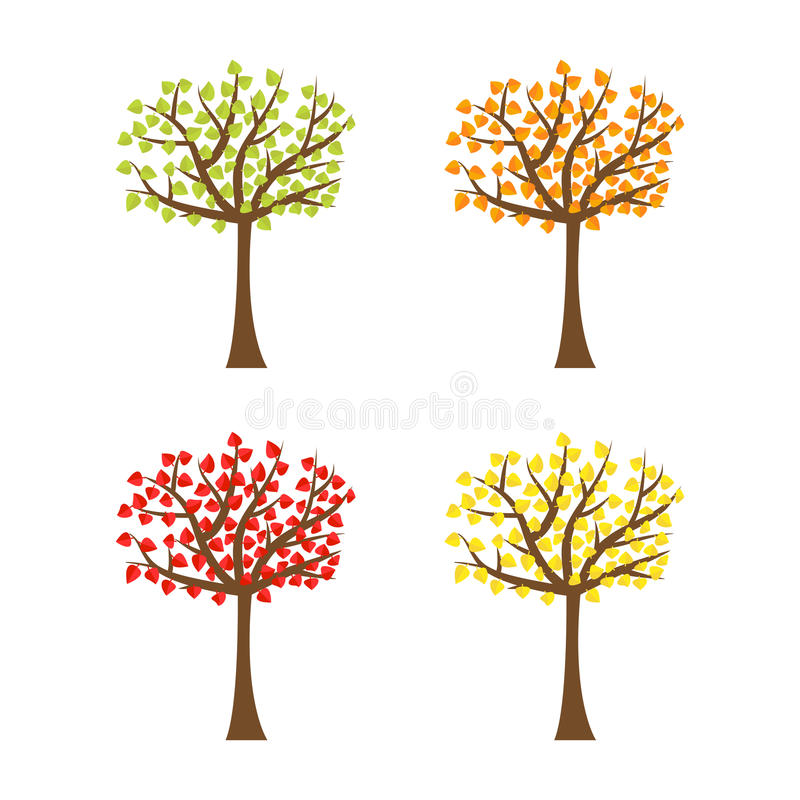 Tree set with different color leaves. Trunk silhouette. Deciduous tree in summer, autumn, spring season. White background. vector illustration