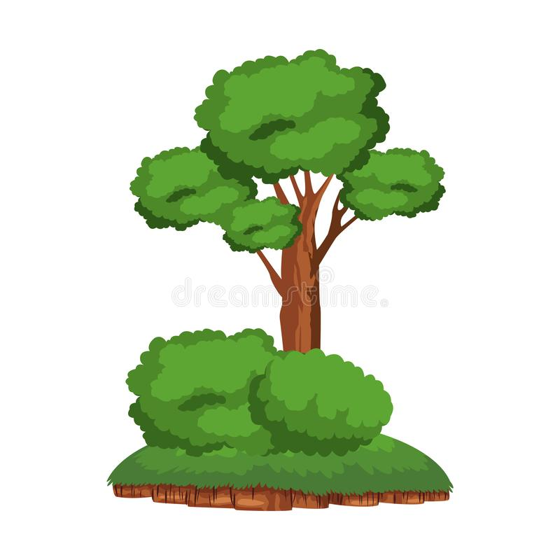Tree and shruberry over a piece of ground. Leafy tree and shruberry over a piece of ground icon cartoon isolated royalty free illustration