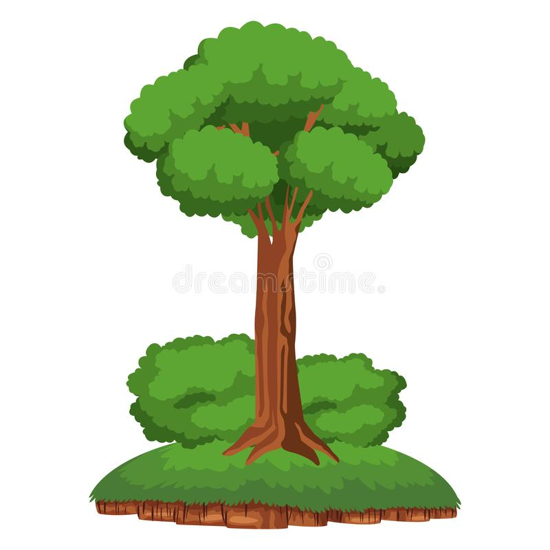 Tree and shruberry over a piece of ground. Leafy tree and shruberry over a piece of ground icon cartoon isolated vector illustration
