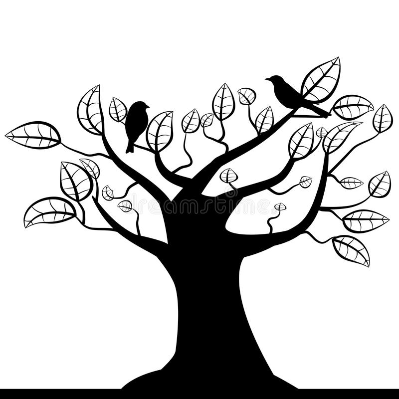 Download Tree silhouette stock vector. Image of black, card, abstract - 26973221