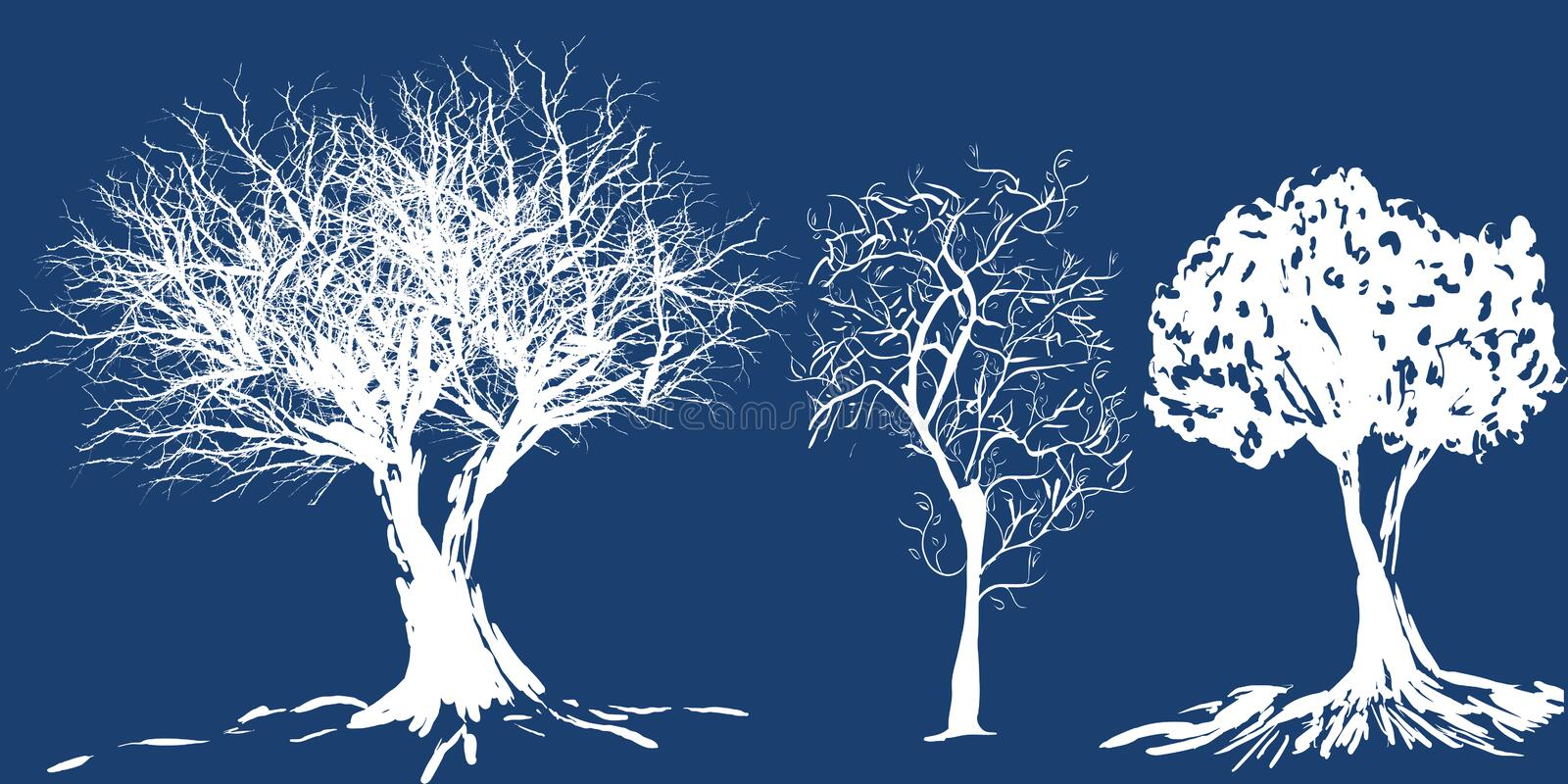Download Tree silhouette stock vector. Image of solitude, snowy - 992653