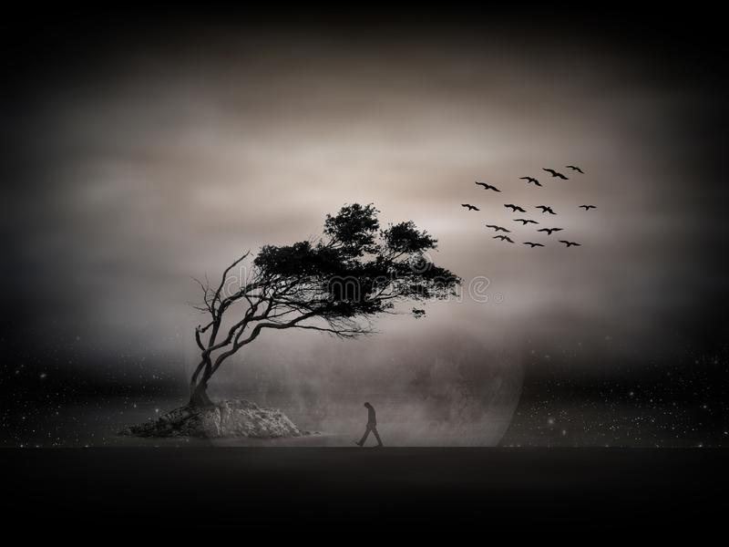 Tree silhouette and flock of birds flying away in the evening. Lonely thoughtful man walking against an isolated dark tree. vector illustration