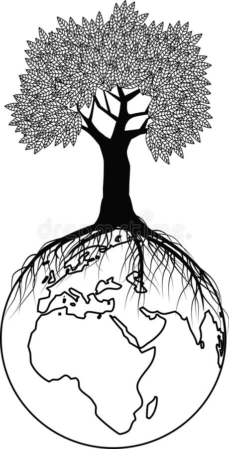 Download Tree Silhouette On The Globe Stock Vector - Image: 12313071