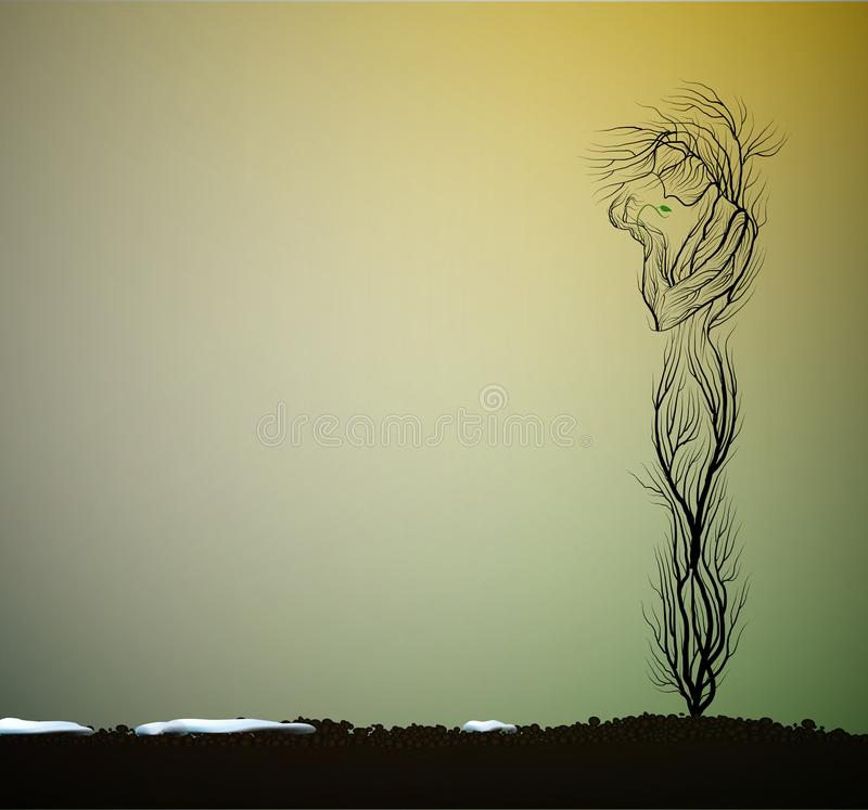 Tree silhouette like a woman holding first green sprout, first spring sprout, tree alive idea, vector illustration