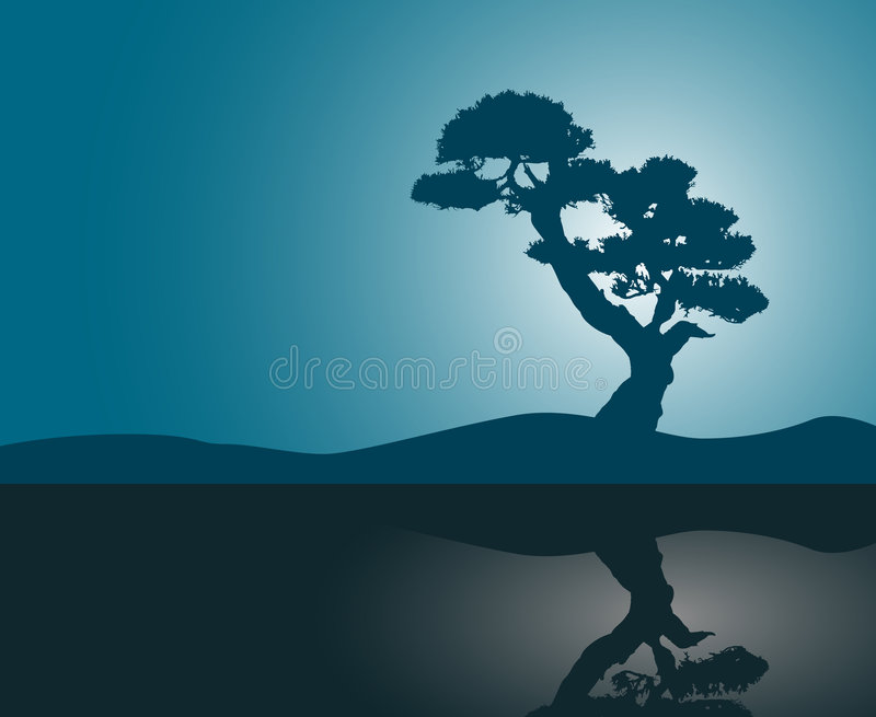 Download Tree silhouette reflection stock vector. Illustration of soil - 2429273