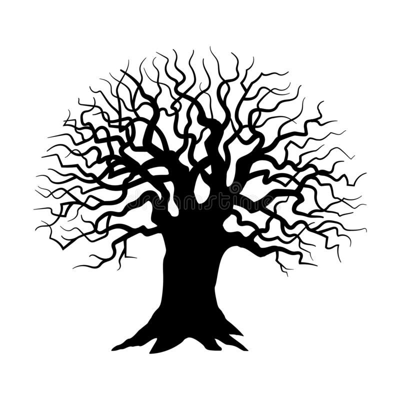 Tree silhouette. Sinister, gloomy tree. Tree silhouette on white background, Sinister, gloomy tree - Vector royalty free illustration
