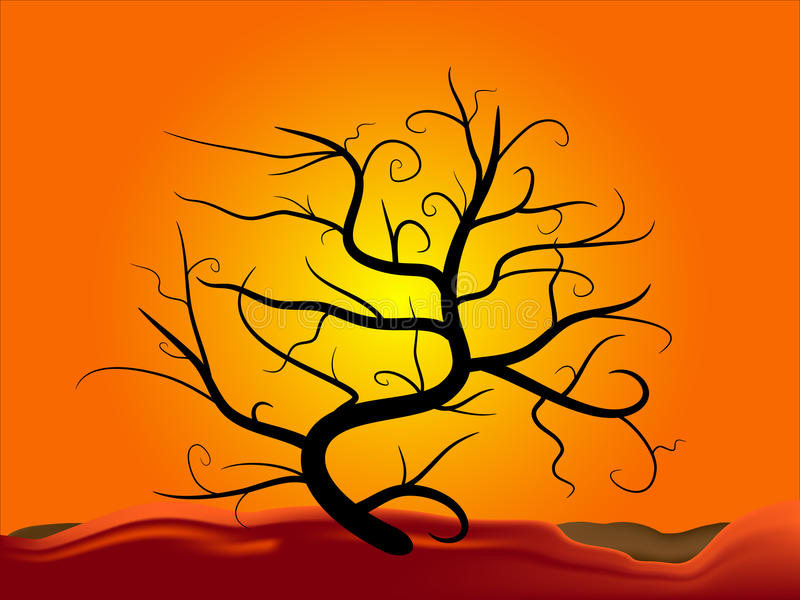 Download Tree silhouette at sunset stock illustration. Image of sunrise - 25964306
