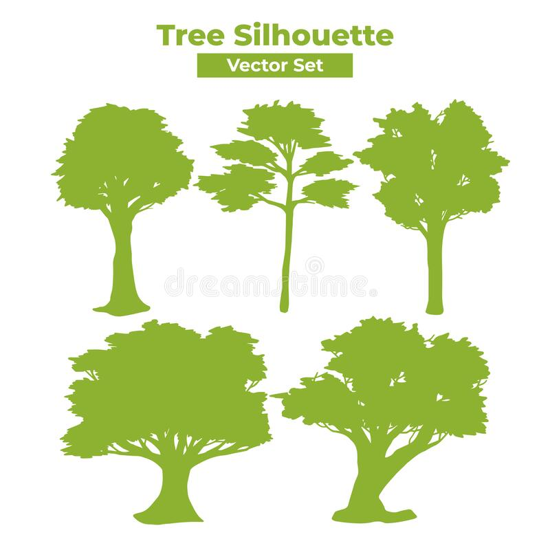 Tree silhouette vector set with big long thick and thin leaves and many branches graphic royalty free illustration