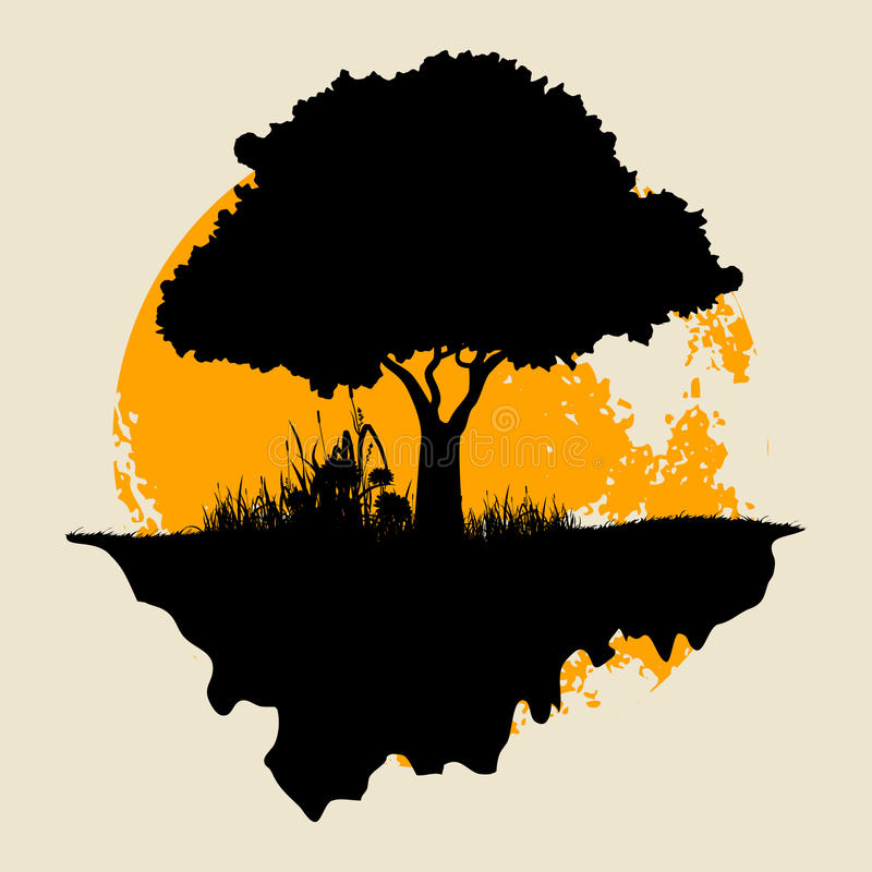 Free Tree Silhouette With Moon Stock Photography - 37877552