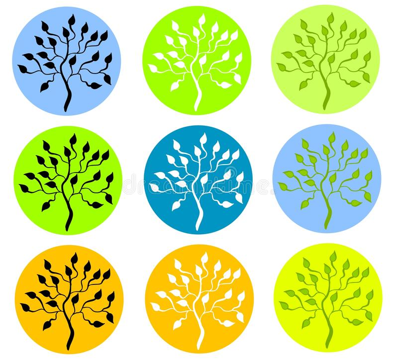 Tree Silhouettes. Trees in circles colorful isolated stock illustration