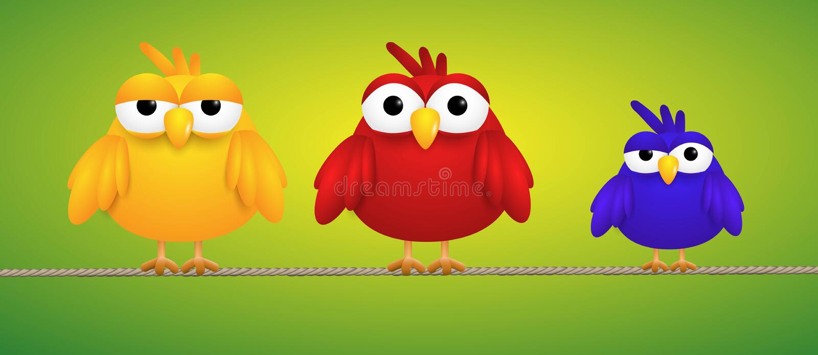 Tree small birds standing on a rope looking funny vector illustration