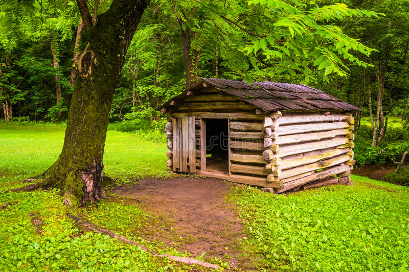 Tree and small log cabin at Cade's Cove, Great Smoky Mountains N. Ational Park, Tennessee royalty free stock photography