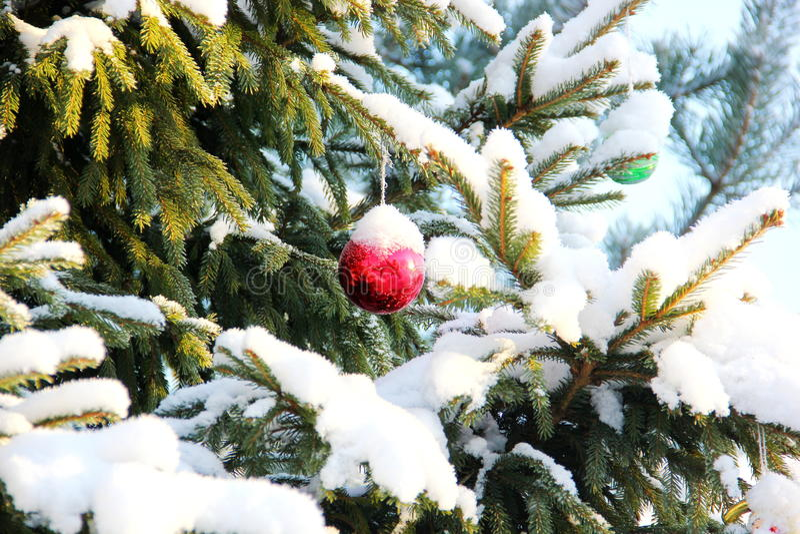 Tree, snow, christmas toys stock photography