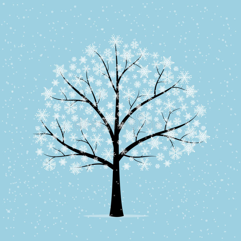 Tree in snow. royalty free illustration