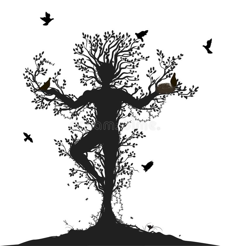 Tree soul, spirit of the forest, birds return to the alive tree, stock illustration