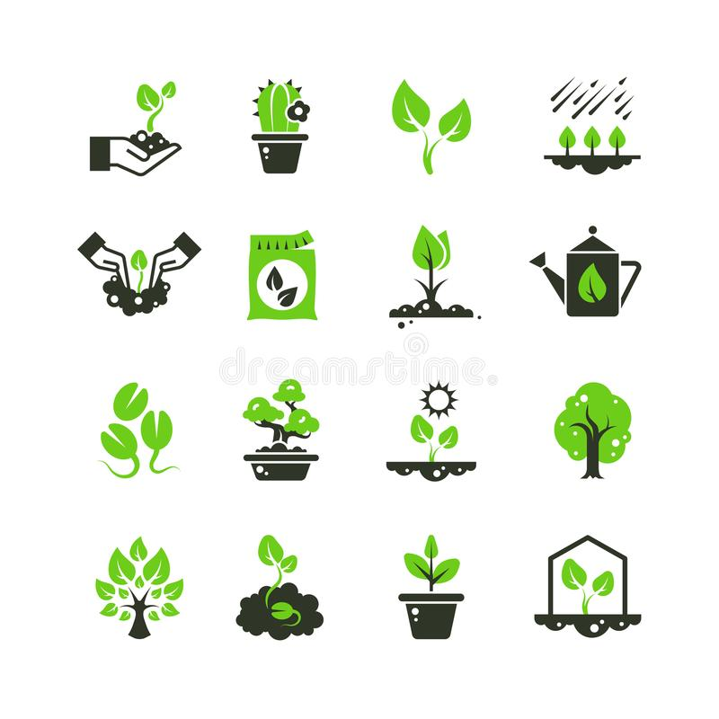 Free Tree Sprout And Plants Vector Icons. Seedling And Hand Planting Pictograms Royalty Free Stock Images - 108724029