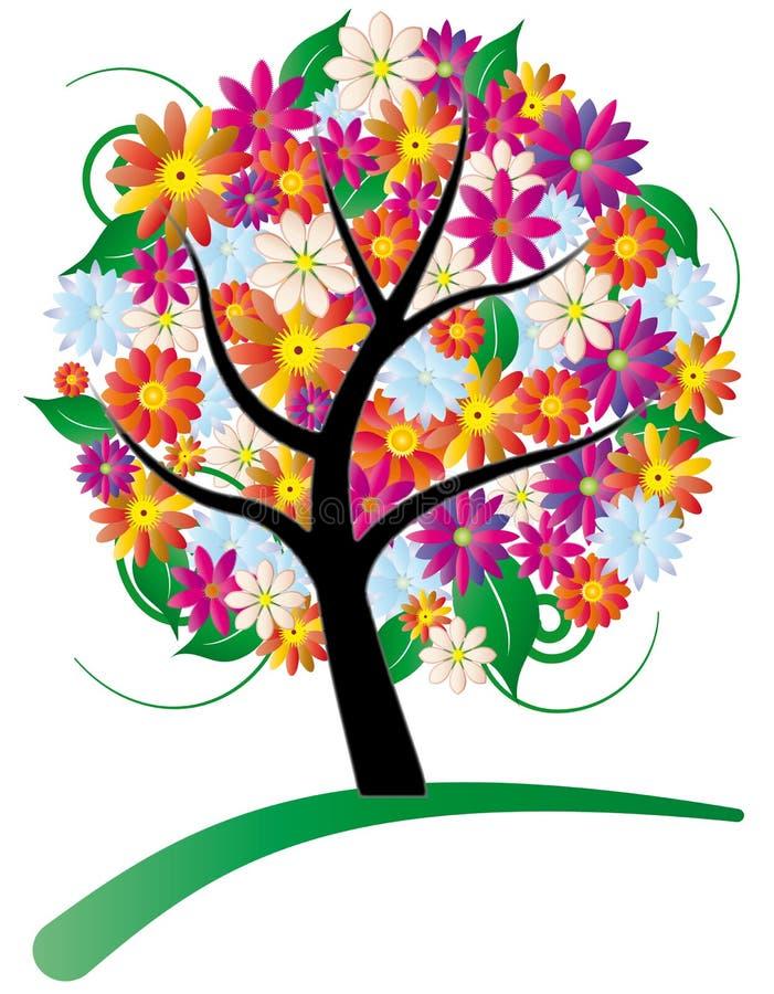 Tree Stylized With Flowers Stock Photos