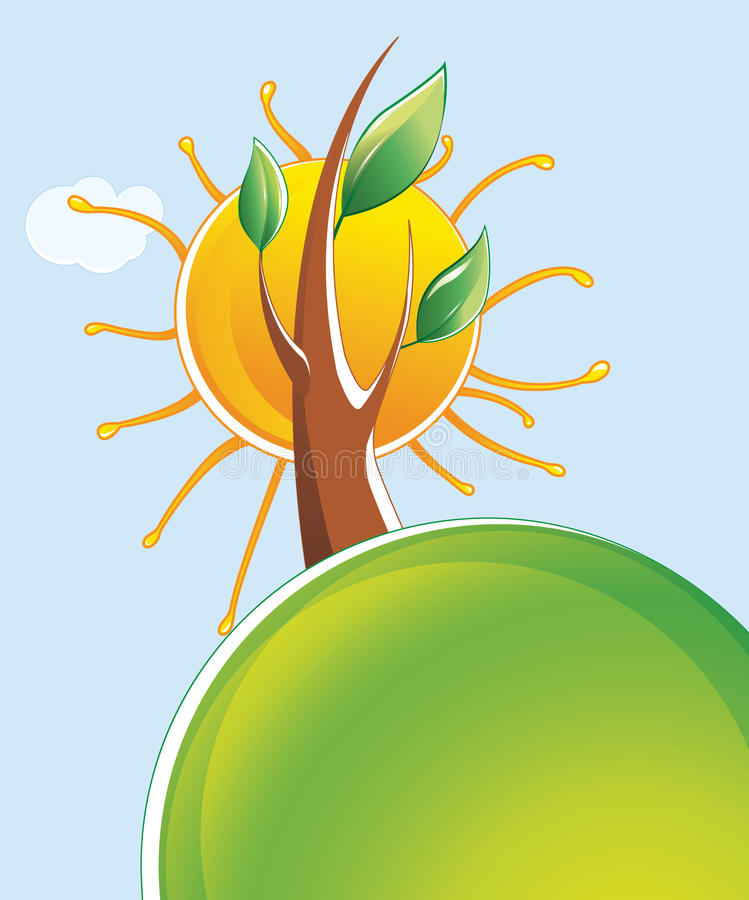 Download Tree and sun stock vector. Image of image, silhouette - 26974955