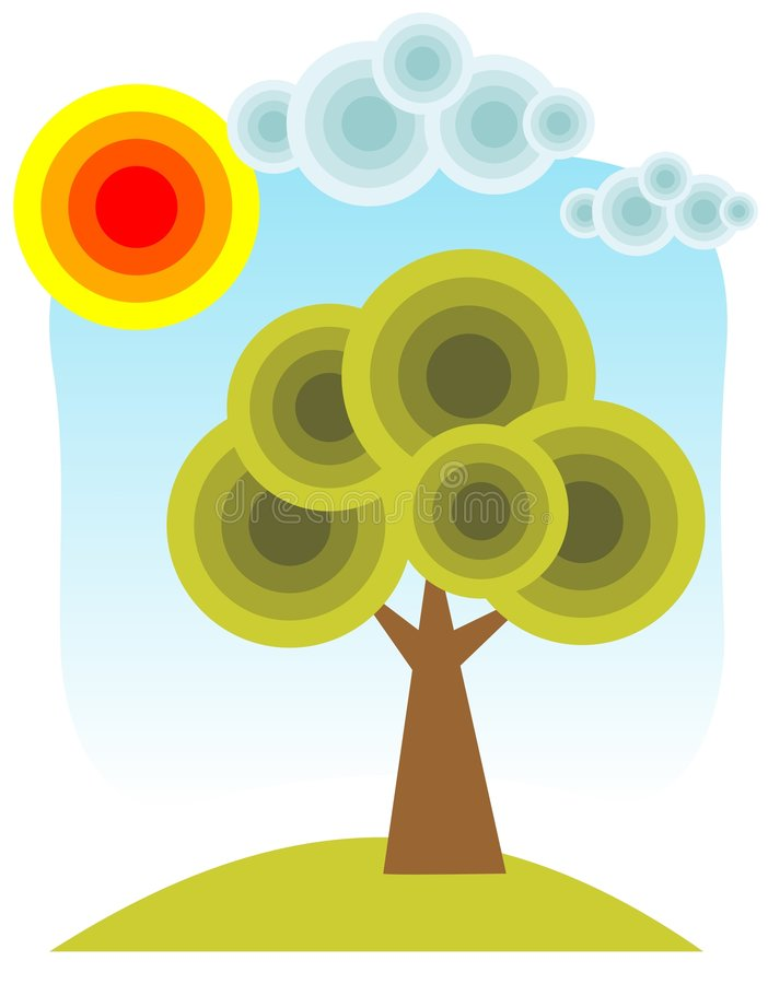 Tree and sun royalty free illustration