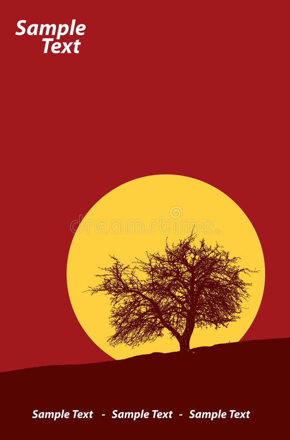 Download Tree in sunset stock vector. Image of silhouette, nature - 23418229