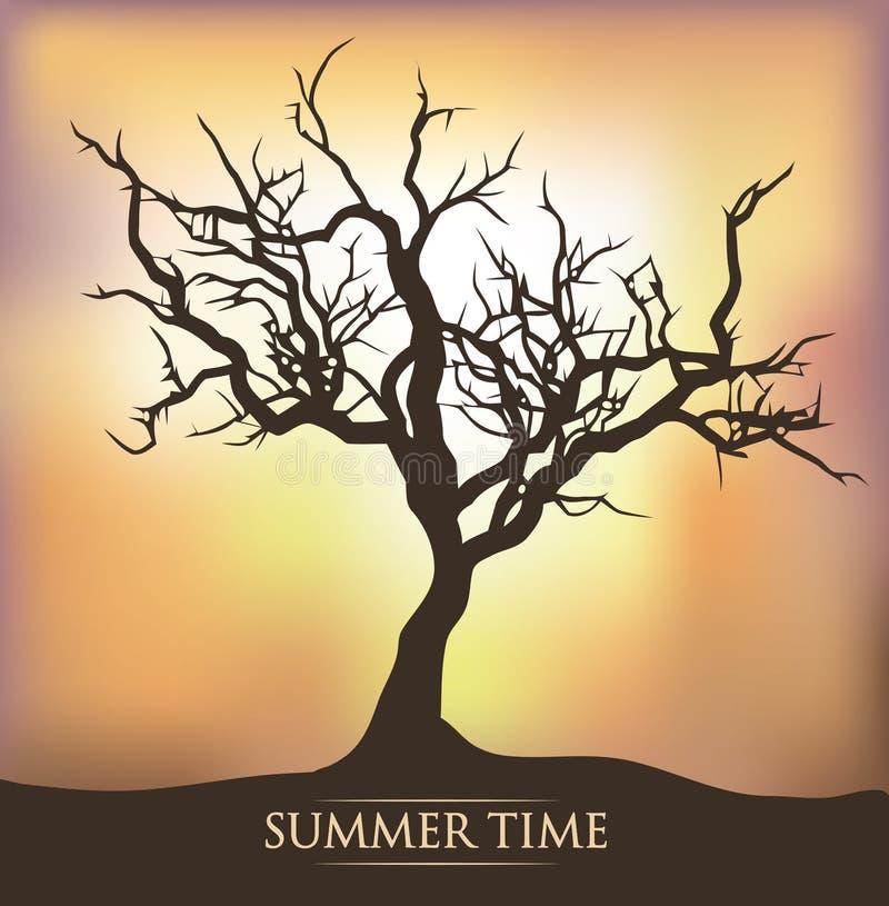 Tree sunset sunrise vector illustration