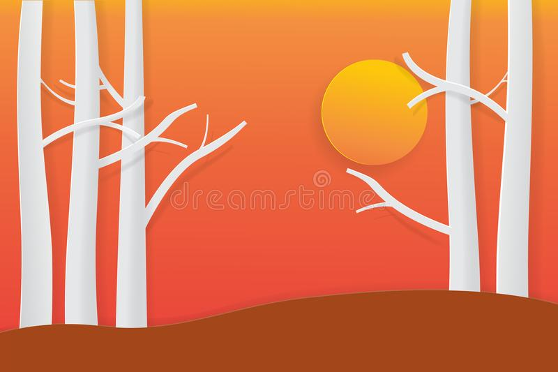 Tree with sunset twilight time paper art style for your design vector illustration stock illustration