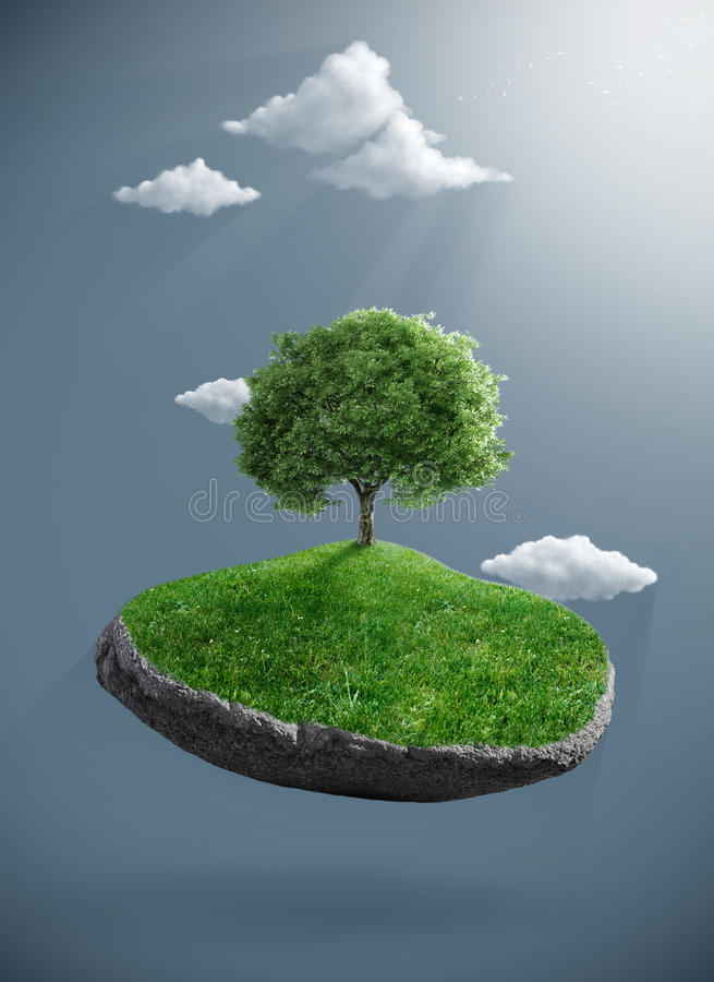 Tree on suspended rock. Tree born to the suspended rock vector illustration