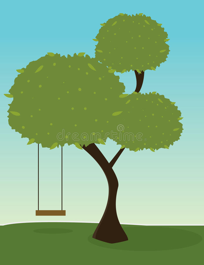 Tree with swing. Green tree with tree segments and a swing on an outdoor background vector illustration