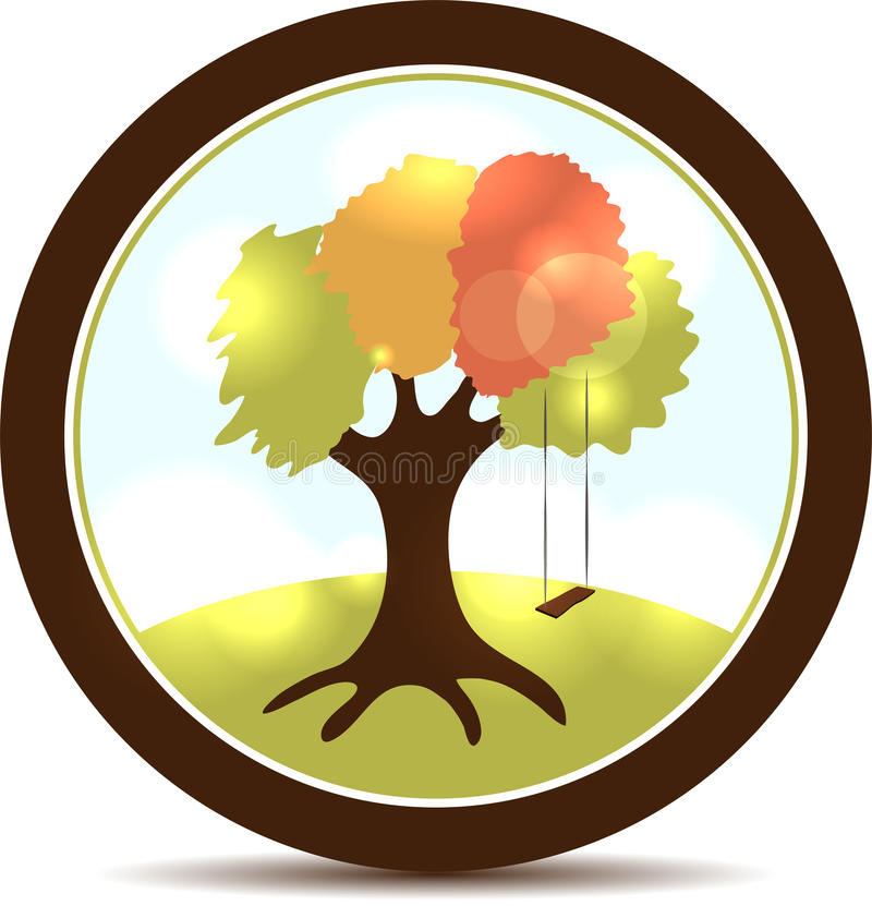 Tree and swings vector illustration