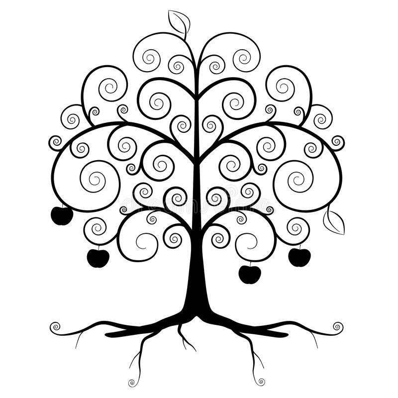 Tree Symbol - Abstract Vector Tree Silhouette stock illustration