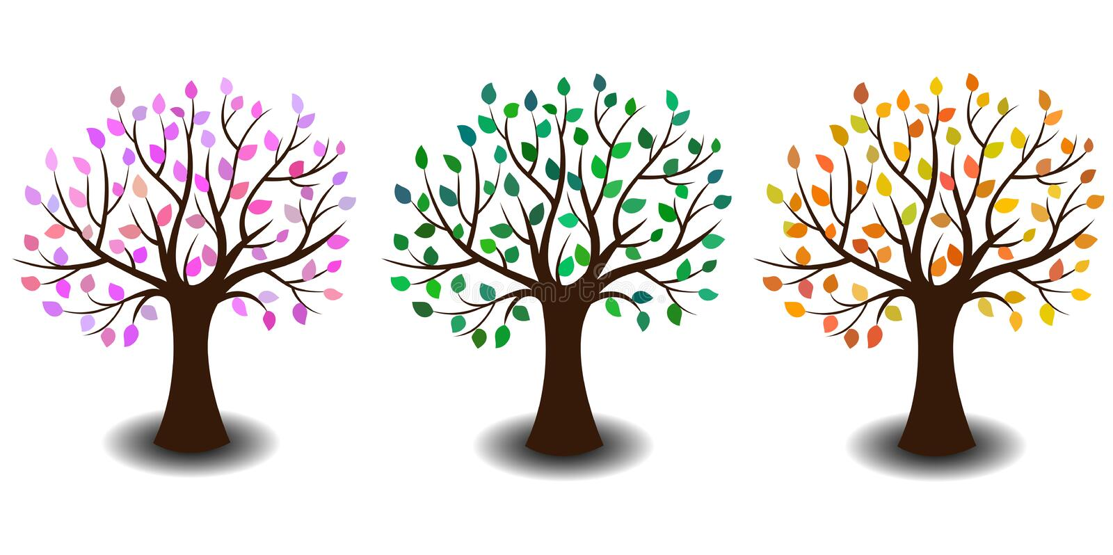 Tree in three variants stock image