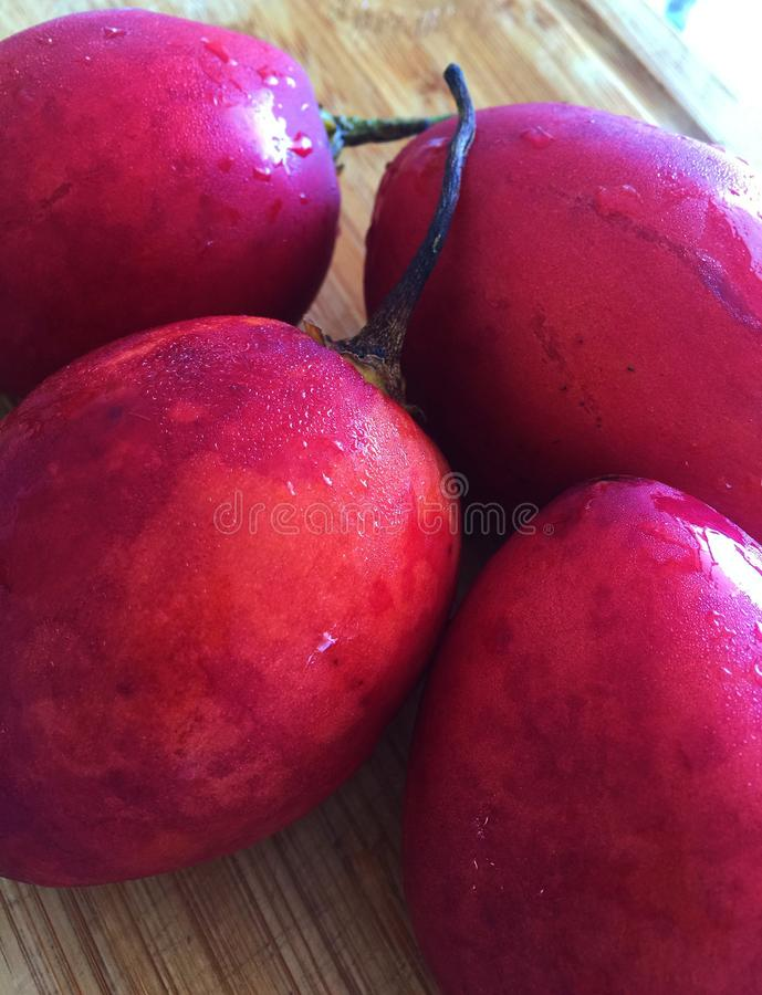 Tree Tomatoes or Tamarillos. A bunch of red tree tomatoes from Ecuador. An egg shaped edible fruit royalty free stock image