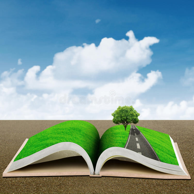 Download Open book with green tree stock illustration. Image of environment - 29735109