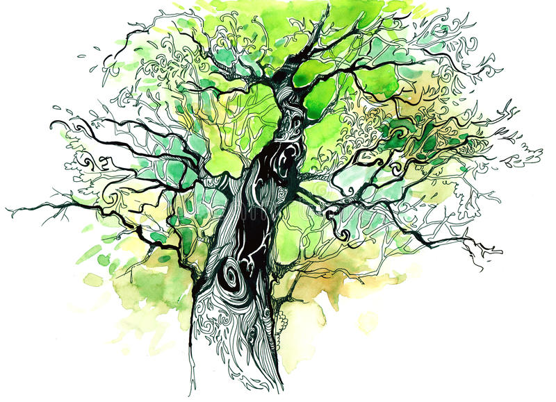 Tree trunk. Green tree trunk (series C vector illustration