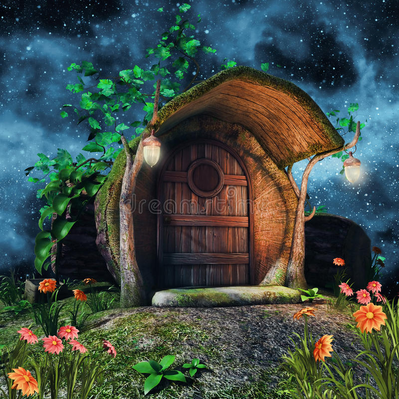 Tree trunk cottage. Fairytale tree trunk cottage with ivy, flowers, and lamps at night stock illustration