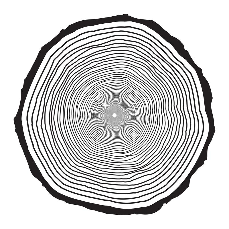 Tree trunk rings design isolated on white background.  royalty free illustration
