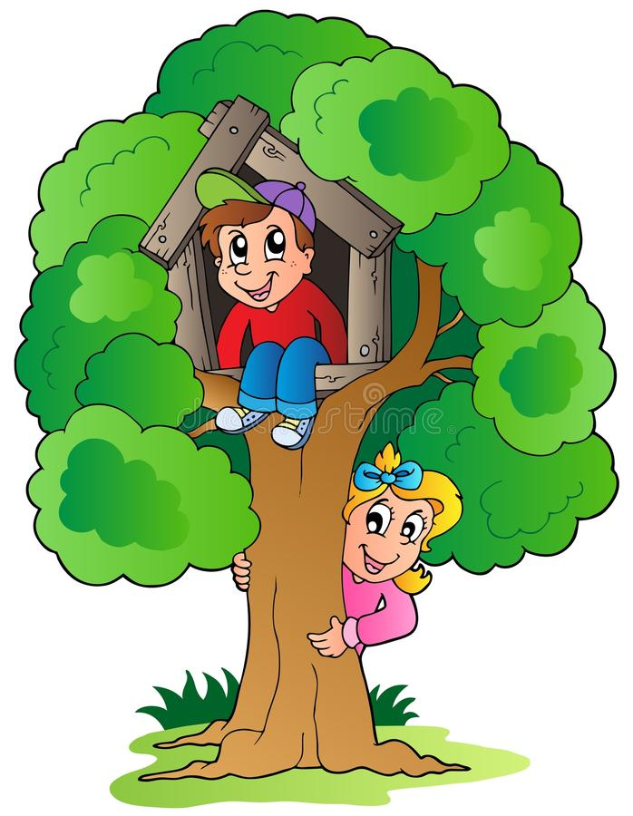 Download Tree with two cartoon kids stock vector. Illustration of looking - 20457645